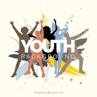 Fundo abstrato das silhuetas do dia da juventude