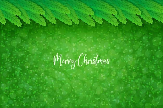Fundo abstrato de abeto verde de natal com flocos de neve em estilo realista