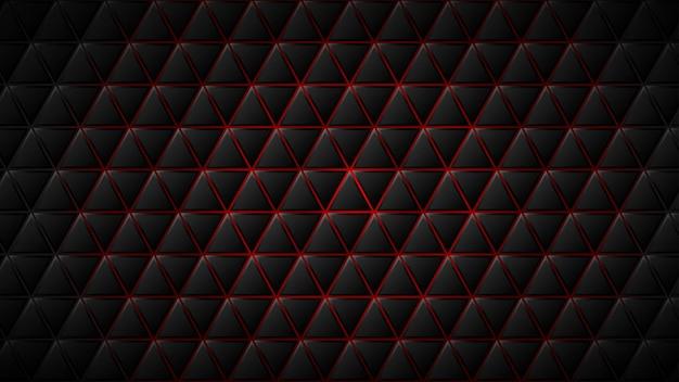 Fundo abstrato de blocos triangulares pretos com lacunas vermelhas entre eles