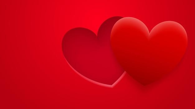 Fundo abstrato de buraco e coração com sombra em cores vermelhas