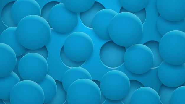 Fundo abstrato de buracos e círculos com sombras em cores azuis