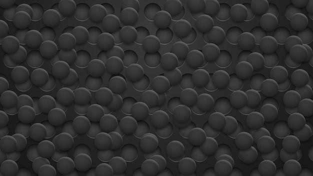 Fundo abstrato de buracos e círculos com sombras em cores pretas