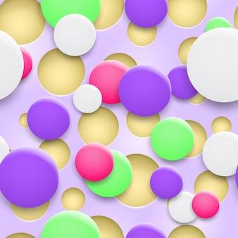 Fundo abstrato de buracos e círculos multicoloridos com sombras
