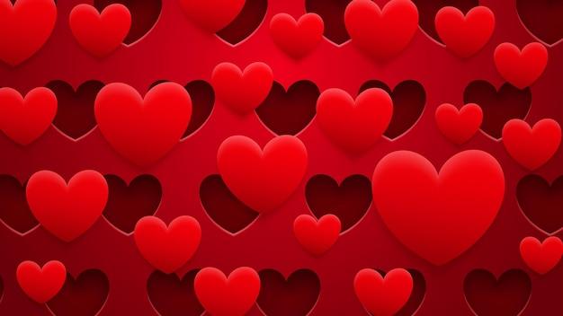 Fundo abstrato de buracos e corações com sombras em cores vermelhas