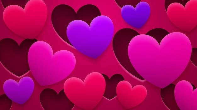 Fundo abstrato de buracos e corações com sombras nas cores vermelha, rosa e roxa