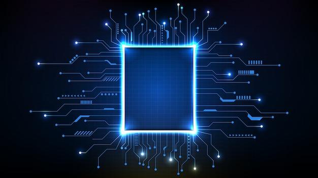 Fundo abstrato de chips futuristas do processador principal com linha de circuito