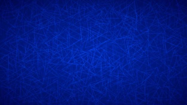 Fundo abstrato de contornos dispostos aleatoriamente de triângulos em cores azuis.