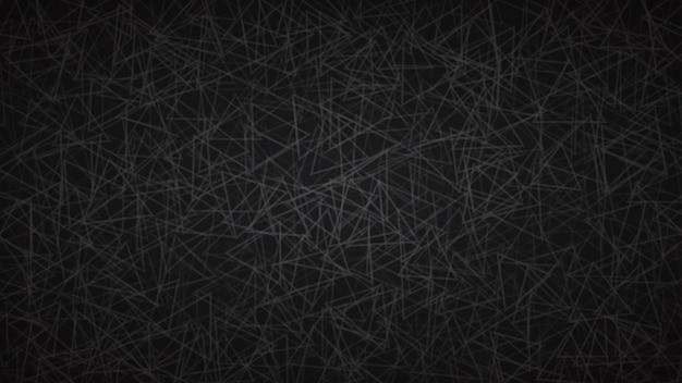 Fundo abstrato de contornos dispostos aleatoriamente de triângulos em cores pretas.