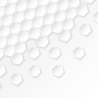 Fundo abstrato de cor branca e cinza com hexágonos