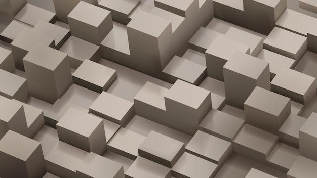 Fundo abstrato de cubos e paralelepípedos em cores marrons com sombras