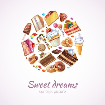 Fundo abstrato de doces
