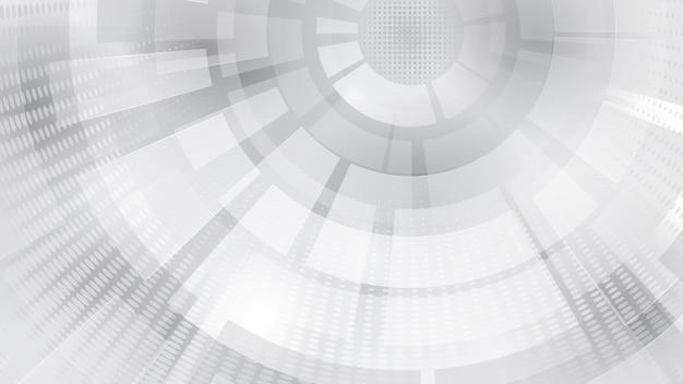 Fundo abstrato de elementos circulares concêntricos e pontos de meio-tom nas cores branco e cinza