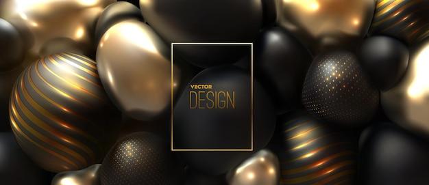 Fundo abstrato de esferas compactadas pretas e douradas