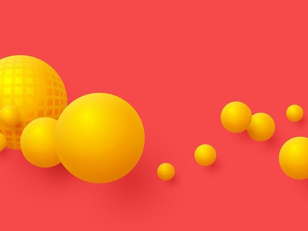Fundo abstrato de esferas flutuantes. 3d bolas amarelas sobre fundo vermelho.