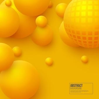 Fundo abstrato de esferas flutuantes. bolas amarelas 3d. ilustração vetorial.