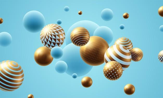 Fundo abstrato de esferas voadoras. ilustração vetorial