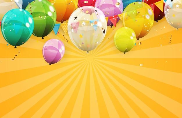 Fundo abstrato de férias com balões