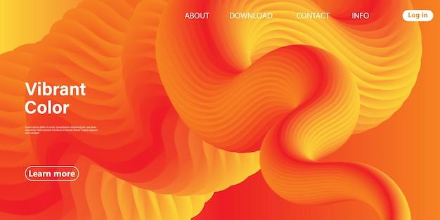 Fundo abstrato de fluxo de fluido laranja com modelo de site de letras de cor vibrante