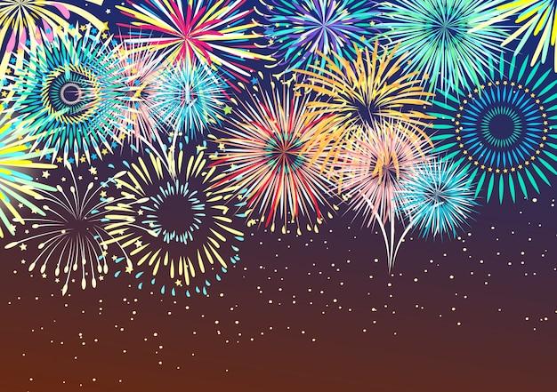 Fundo abstrato de fogo de artifício festivo