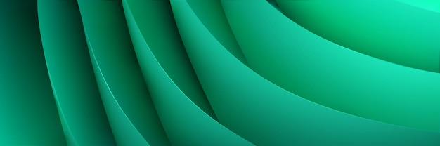 Fundo abstrato de folhas de papel volumétricas curvas em cores turquesa