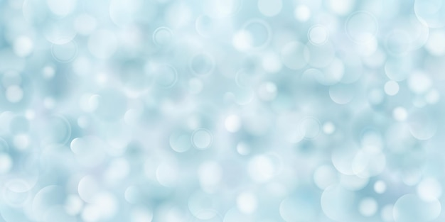 Fundo abstrato de grandes e pequenos círculos translúcidos em cores azuis claras com efeito bokeh