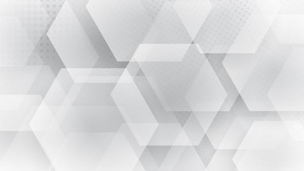 Fundo abstrato de hexágonos e pontos de meio-tom nas cores branco e cinza