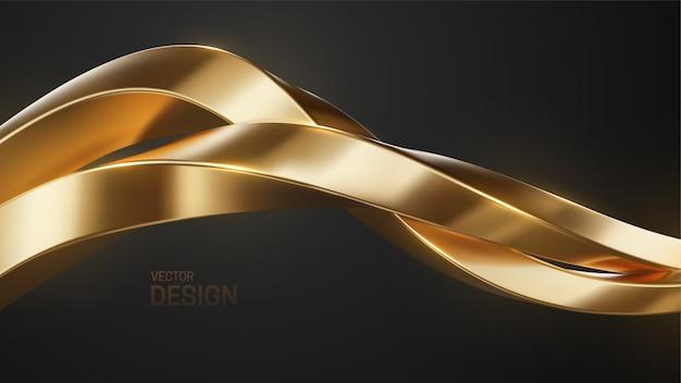 Fundo abstrato de joias de luxo com formas douradas entrelaçadas
