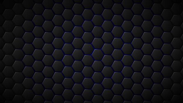 Fundo abstrato de ladrilhos hexagonais pretos com lacunas azuis entre eles