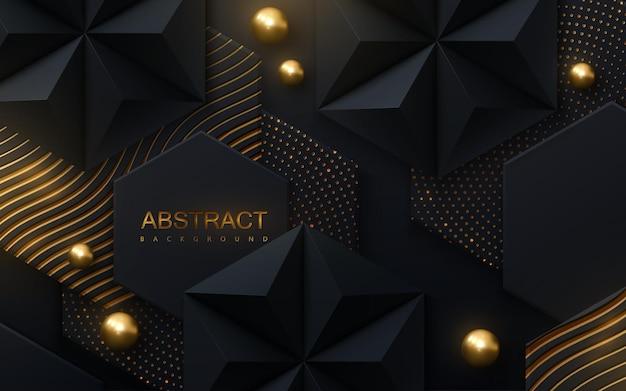 Fundo abstrato de ladrilhos hexagonais pretos texturizados com padrões brilhantes dourados