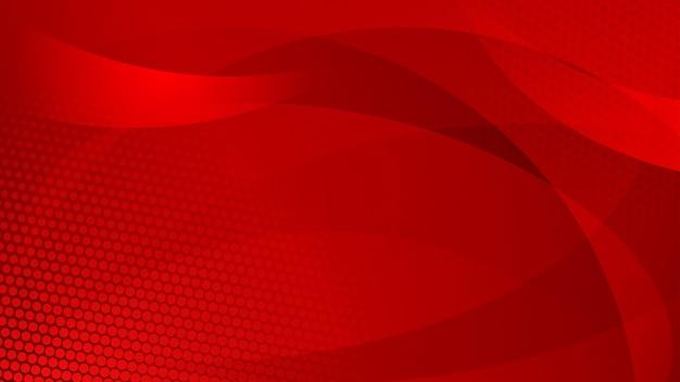Fundo abstrato de linhas curvas, curvas e pontos de meio-tom em cores vermelhas