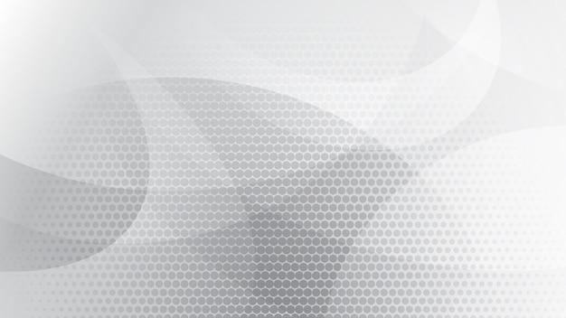 Fundo abstrato de linhas curvas, curvas e pontos de meio-tom nas cores branco e cinza