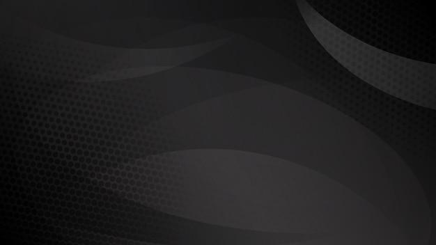 Fundo abstrato de linhas curvas, curvas e pontos de meio-tom nas cores preto e cinza
