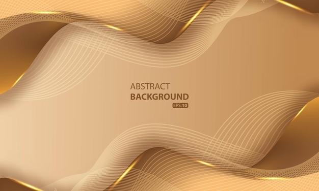 Fundo abstrato de linhas douradas de luxo com efeito de brilho