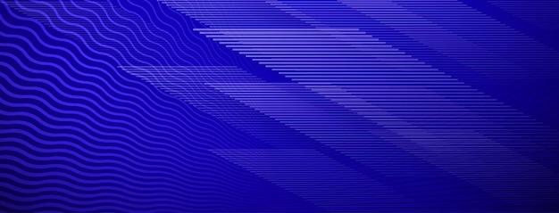 Fundo abstrato de linhas retas e onduladas que se cruzam em cores azuis