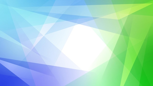 Fundo abstrato de linhas retas que se cruzam e polígonos nas cores azul claro e verde