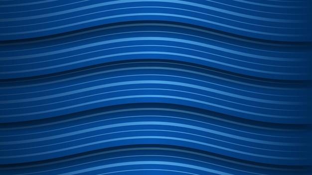 Fundo abstrato de listras azuis onduladas com sombras