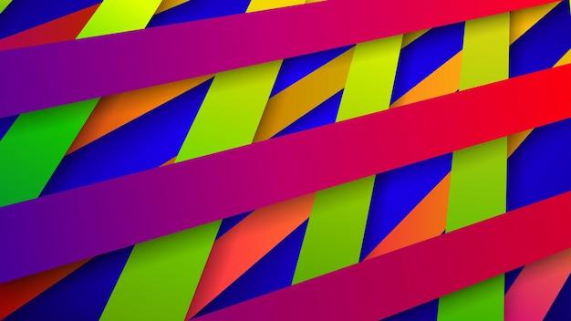 Fundo abstrato de listras coloridas entrelaçadas com sombras