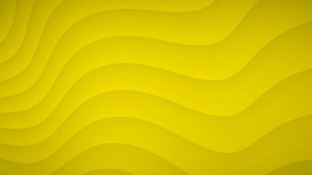 Fundo abstrato de listras curvas onduladas com sombras em cores amarelas