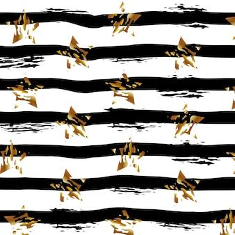 Fundo abstrato de listras pretas e estrelas douradas em uma ilustração vetorial de fundo branco