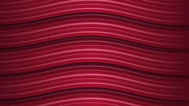 Fundo abstrato de listras vermelhas escuras onduladas com sombras