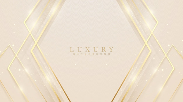 Fundo abstrato de luxo com linhas douradas brilham formas geométricas. ilustração do vetor sobre o design do modelo moderno para uma sensação doce e elegante.