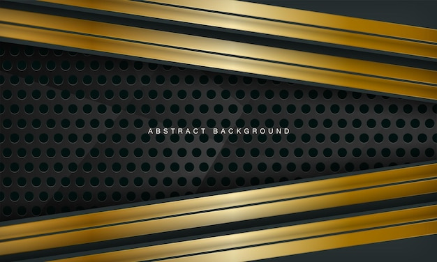 Fundo abstrato de luxo verde combinado com elemento de linhas douradas e padrão de círculo