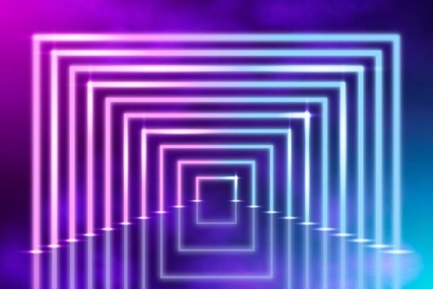 Fundo abstrato de luzes de néon com meio quadrado