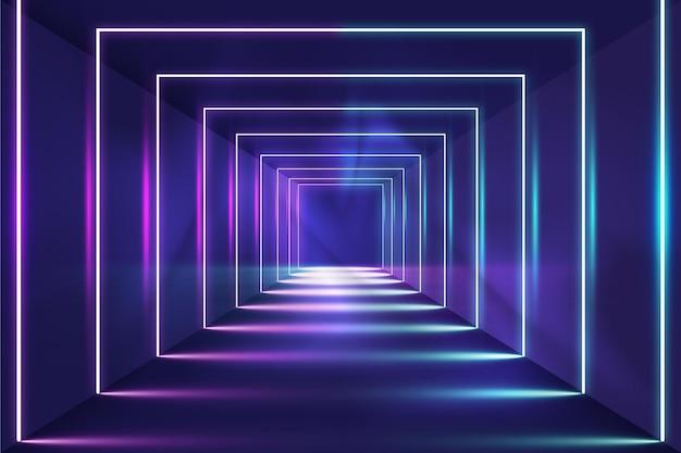 Fundo abstrato de luzes de néon de quadrados