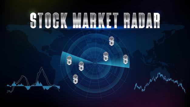 Fundo abstrato de mapas mundiais da europa e texto de radar do mercado de ações com interface de digitalização hud