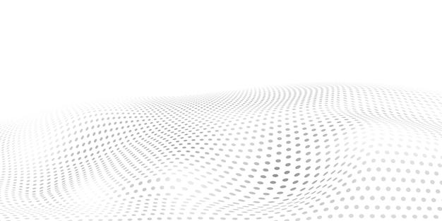 Fundo abstrato de meio-tom com superfície ondulada feita de pontos cinza em branco