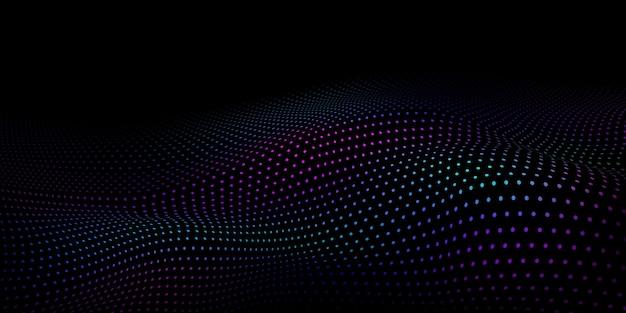 Fundo abstrato de meio-tom com superfície ondulada feita de pontos coloridos em preto