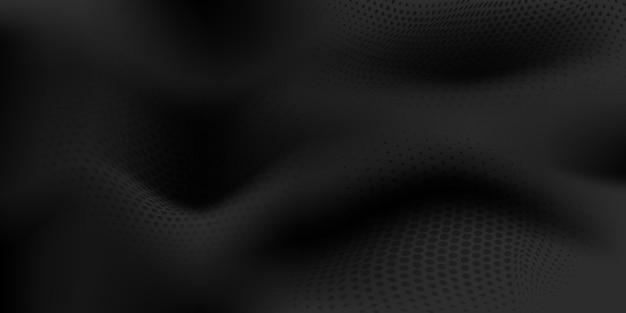 Fundo abstrato de meio-tom com superfície ondulada feita de pontos em cores pretas