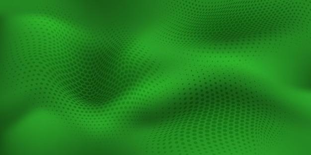 Fundo abstrato de meio-tom com superfície ondulada feita de pontos em cores verdes