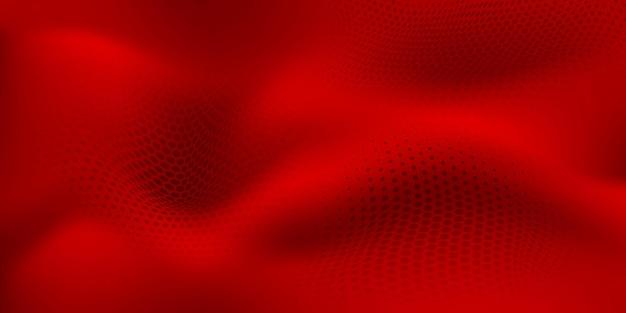 Fundo abstrato de meio-tom com superfície ondulada feita de pontos em cores vermelhas